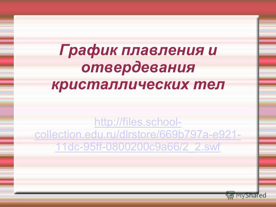 График плавления и отвердевания кристаллических тел http://files.school- collection.edu.ru/dlrstore/669b797a-e921- 11dc-95ff-0800200c9a66/2_2.swf