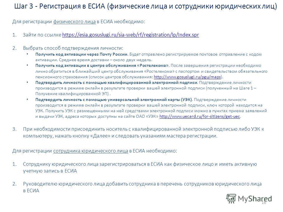 Шаг 3 - Регистрация в ЕСИА (физические лица и сотрудники юридических лиц) Для регистрации физического лица в ЕСИА необходимо: 1.Зайти по ссылке https://esia.gosuslugi.ru/sia-web/rf/registration/lp/Index.sprhttps://esia.gosuslugi.ru/sia-web/rf/registr