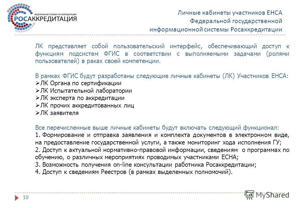 Личные кабинеты участников ЕНСА Федеральной государственной информационной системы Росаккредитации 10 ЛК представляет собой пользовательский интерфейс, обеспечивающий доступ к функциям подсистем ФГИС в соответствии с выполняемыми задачами (ролями пол