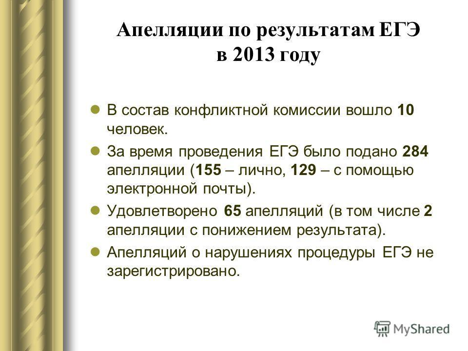 Апелляции по результатам ЕГЭ в 2013 году В состав конфликтной комиссии вошло 10 человек. За время проведения ЕГЭ было подано 284 апелляции (155 – лично, 129 – с помощью электронной почты). Удовлетворено 65 апелляций (в том числе 2 апелляции с понижен