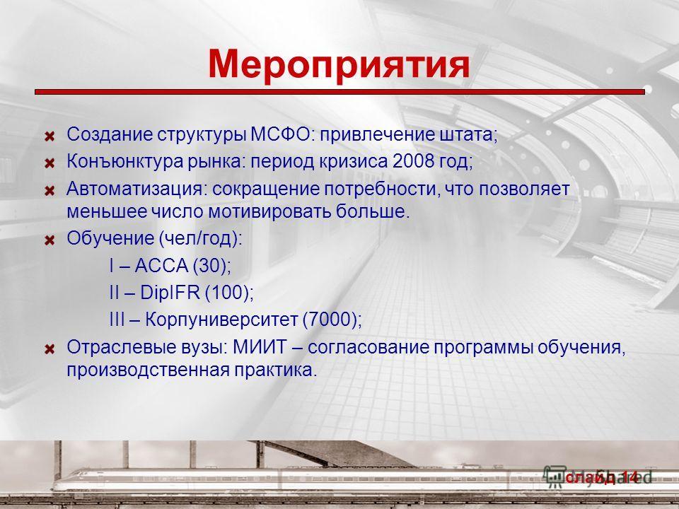 Мероприятия слайд 14 Создание структуры МСФО: привлечение штата; Конъюнктура рынка: период кризиса 2008 год; Автоматизация: сокращение потребности, что позволяет меньшее число мотивировать больше. Обучение (чел/год): I – ACCA (30); II – DipIFR (100);