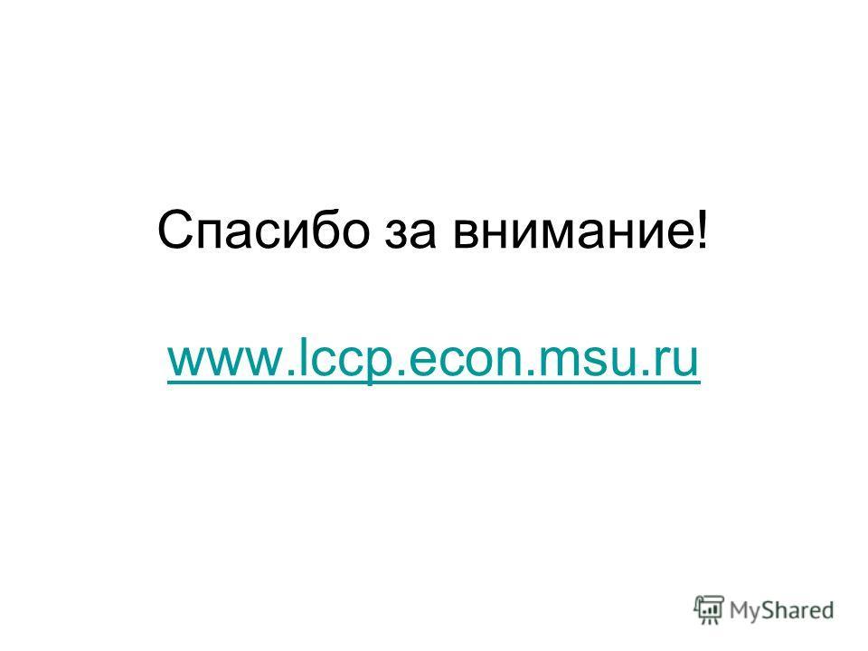 Спасибо за внимание! www.lccp.econ.msu.ru www.lccp.econ.msu.ru