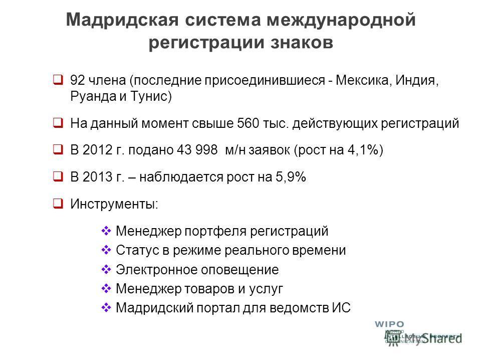 Мадридская система международной регистрации знаков 92 члена (последние присоединившиеся - Мексика, Индия, Руанда и Тунис) На данный момент свыше 560 тыс. действующих регистраций В 2012 г. подано 43 998 м/н заявок (рост на 4,1%) В 2013 г. – наблюдает