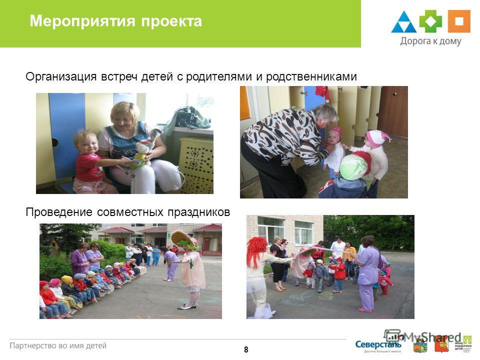 Мероприятия проекта 8 Организация встреч детей с родителями и родственниками Проведение совместных праздников