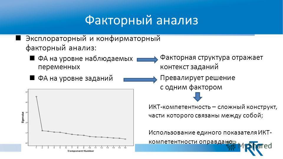 Факторный анализ Эксплораторный и конфирматорный факторный анализ : ФА на уровне наблюдаемых переменных ФА на уровне заданий Факторная структура отражает контекст заданий Превалирует решение с одним фактором ИКТ-компетентность – сложный конструкт, ча