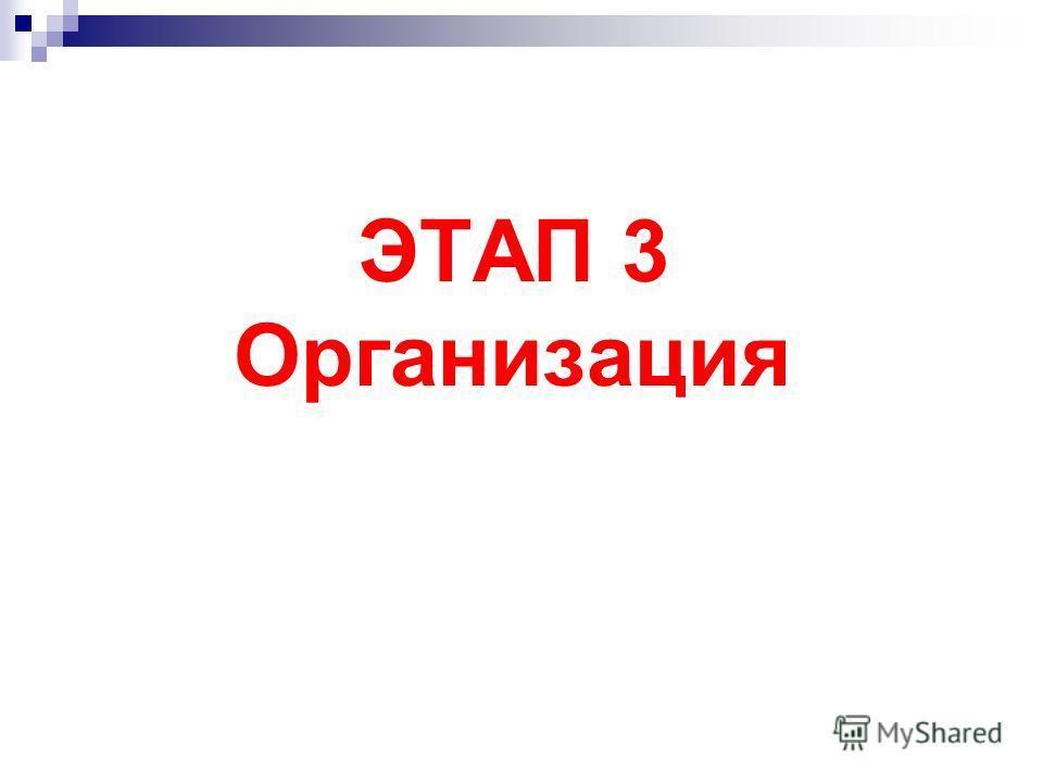 ЭТАП 3 Организация