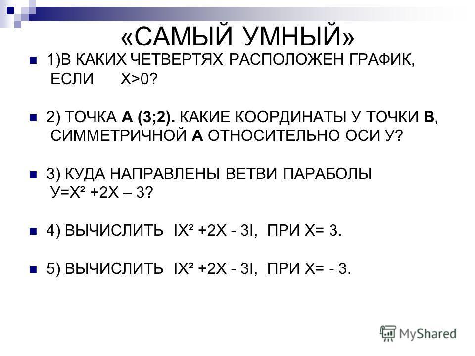 «САМЫЙ УМНЫЙ» 1)В КАКИХ ЧЕТВЕРТЯХ РАСПОЛОЖЕН ГРАФИК, ЕСЛИ Х>0? 2) ТОЧКА А (3;2). КАКИЕ КООРДИНАТЫ У ТОЧКИ В, СИММЕТРИЧНОЙ А ОТНОСИТЕЛЬНО ОСИ У? 3) КУДА НАПРАВЛЕНЫ ВЕТВИ ПАРАБОЛЫ У=Х² +2Х – 3? 4) ВЫЧИСЛИТЬ IX² +2X - 3I, ПРИ Х= 3. 5) ВЫЧИСЛИТЬ IX² +2X