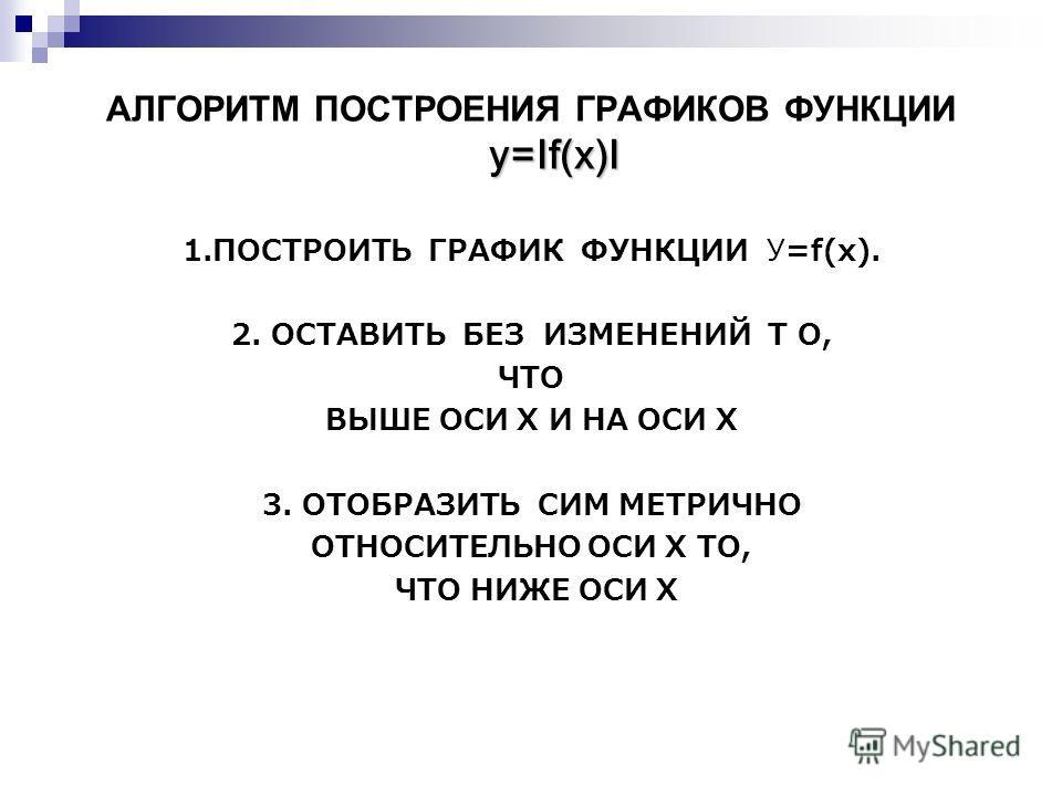 y=If(x)I АЛГОРИТМ ПОСТРОЕНИЯ ГРАФИКОВ ФУНКЦИИ y=If(x)I 1.ПОСТРОИТЬ ГРАФИК ФУНКЦИИ У=f(x). 2. ОСТАВИТЬ БЕЗ ИЗМЕНЕНИЙ Т О, ЧТО ВЫШЕ ОСИ Х И НА ОСИ Х 3. ОТОБРАЗИТЬ СИМ МЕТРИЧНО ОТНОСИТЕЛЬНО ОСИ Х ТО, ЧТО НИЖЕ ОСИ Х
