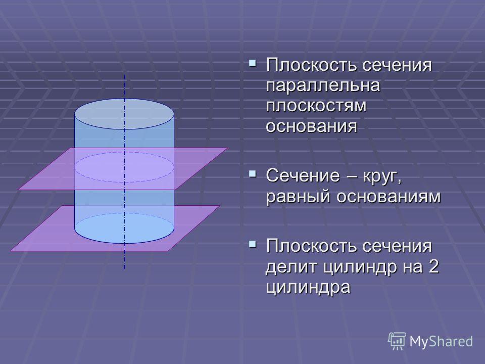Плоскость сечения параллельна плоскостям основания Плоскость сечения параллельна плоскостям основания Сечение – круг, равный основаниям Сечение – круг, равный основаниям Плоскость сечения делит цилиндр на 2 цилиндра Плоскость сечения делит цилиндр на