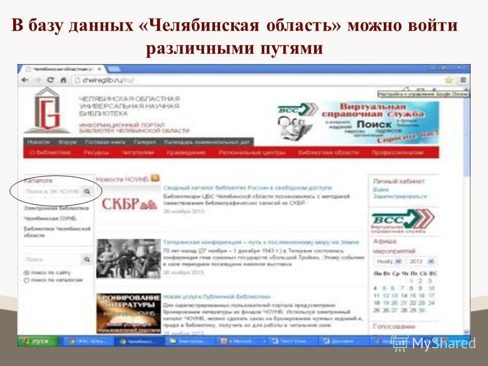 В базу данных «Челябинская область» можно войти различными путями