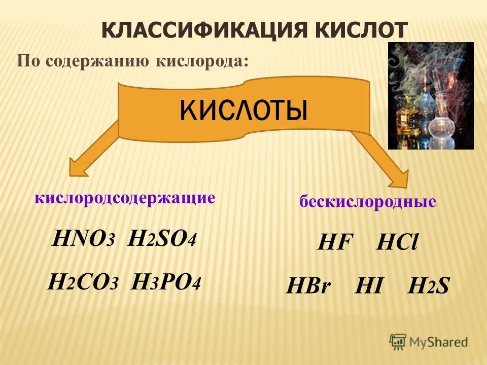 КЛАССИФИКАЦИЯ КИСЛОТ бескислородные HF HCl HBr HI H 2 S По содержанию кислорода: кислородсодержащие HNO 3 H 2 SO 4 H 2 CO 3 H 3 PO 4 КИСЛОТЫ