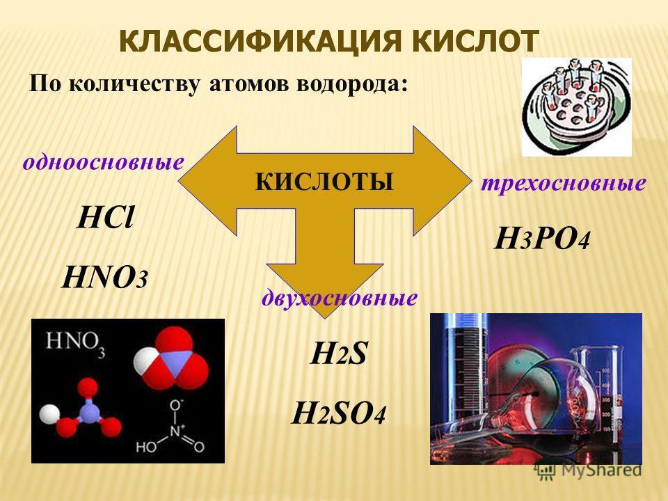 По количеству атомов водорода: КИСЛОТЫ одноосновные HCl HNO 3 двухосновные H 2 S H 2 SO 4 трехосновные H 3 PO 4 КЛАССИФИКАЦИЯ КИСЛОТ