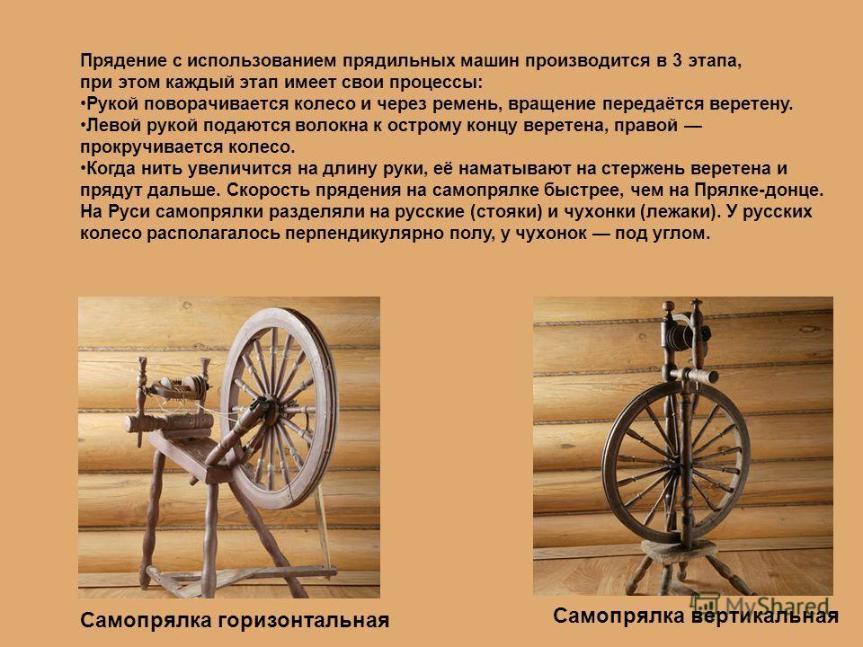 Самопрялка вертикальная Самопрялка горизонтальная Прядение с использованием прядильных машин производится в 3 этапа, при этом каждый этап имеет свои процессы: Рукой поворачивается колесо и через ремень, вращение передаётся веретену. Левой рукой подаю