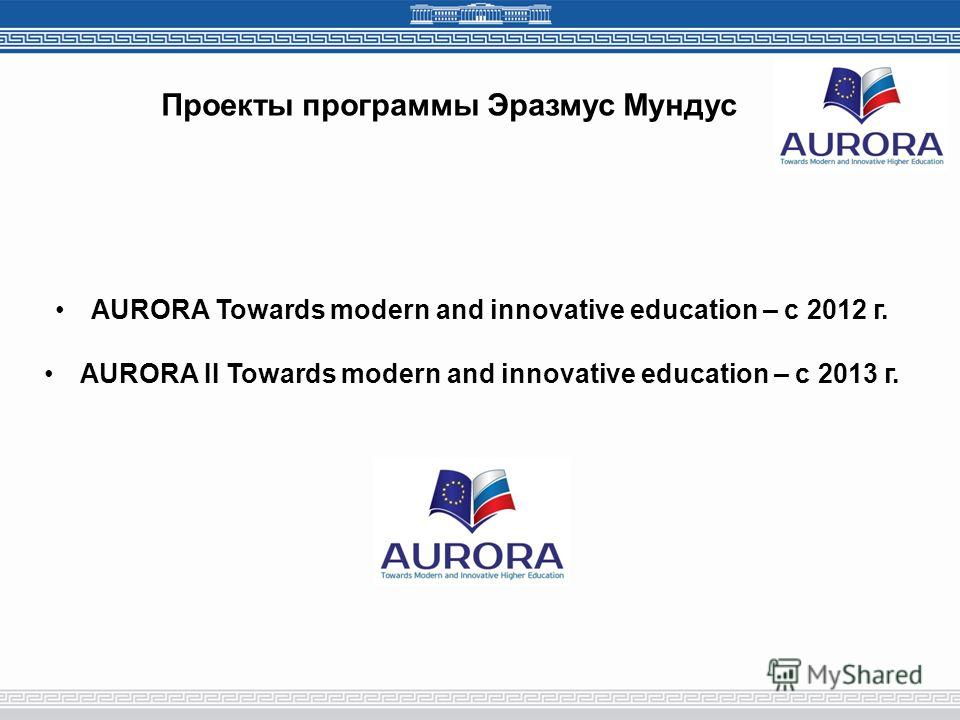 Проекты программы Эразмус Мундус AURORA Towards modern and innovative education – с 2012 г. AURORA II Towards modern and innovative education – с 2013 г.