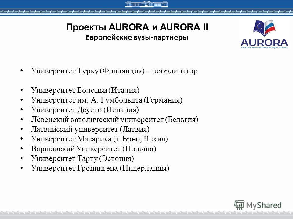 Проекты AURORA и AURORA II Европейские вузы-партнеры Университет Турку (Финляндия) – координатор Университет Болоньи (Италия) Университет им. А. Гумбольдта (Германия) Университет Деусто (Испания) Лвенский католический университет (Бельгия) Латвийский