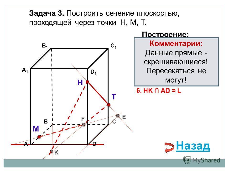 АD В1В1 ВС А1А1 C1C1 D1D1 Задача 3. Построить сечение плоскостью, проходящей через точки Н, М, Т. Н Т М Построение: 1. НТ 2. НТ DС = E E 3. ME ВС = F F F 4. ТF F В 1 В = K 5. ТF В 1 В = K K K АD = L 6. НK АD = L Комментарии: Данные прямые - скрещиваю