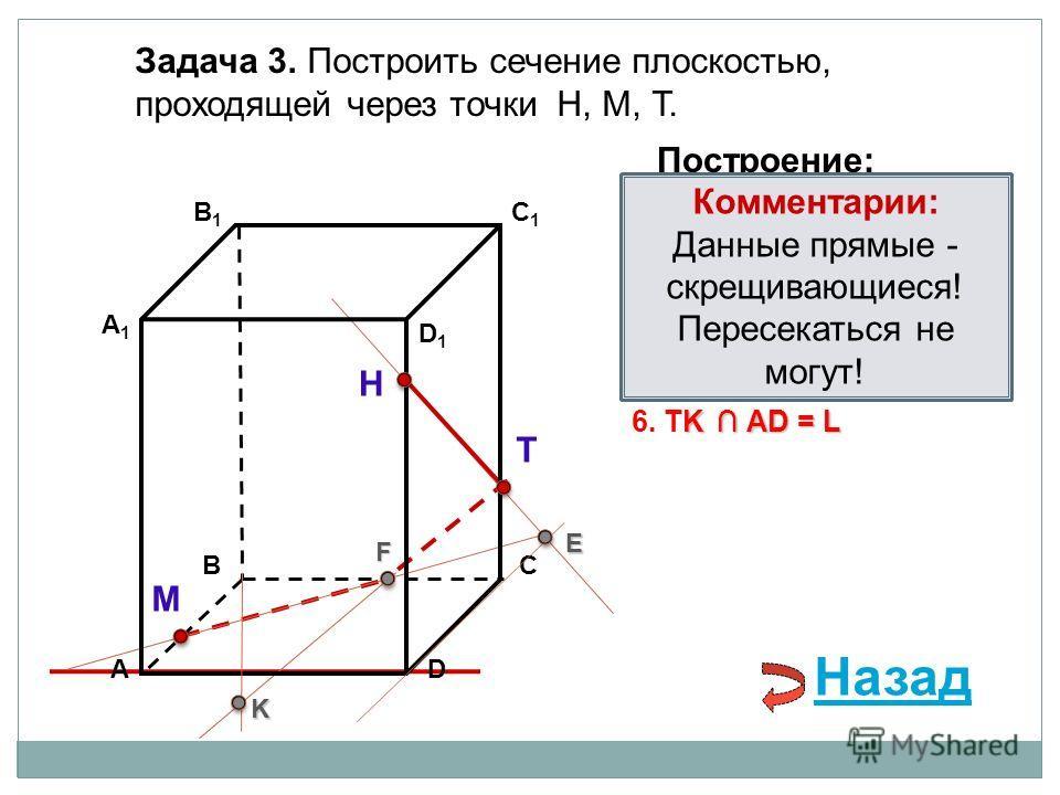 АD В1В1 ВС А1А1 C1C1 D1D1 Задача 3. Построить сечение плоскостью, проходящей через точки Н, М, Т. Н Т М Построение: 1. НТ 2. НТ DС = E E 3. ME ВС = F F F 4. ТF F В 1 В = K 5. ТF В 1 В = K K K АD = L 6. TK АD = L Комментарии: Данные прямые - скрещиваю