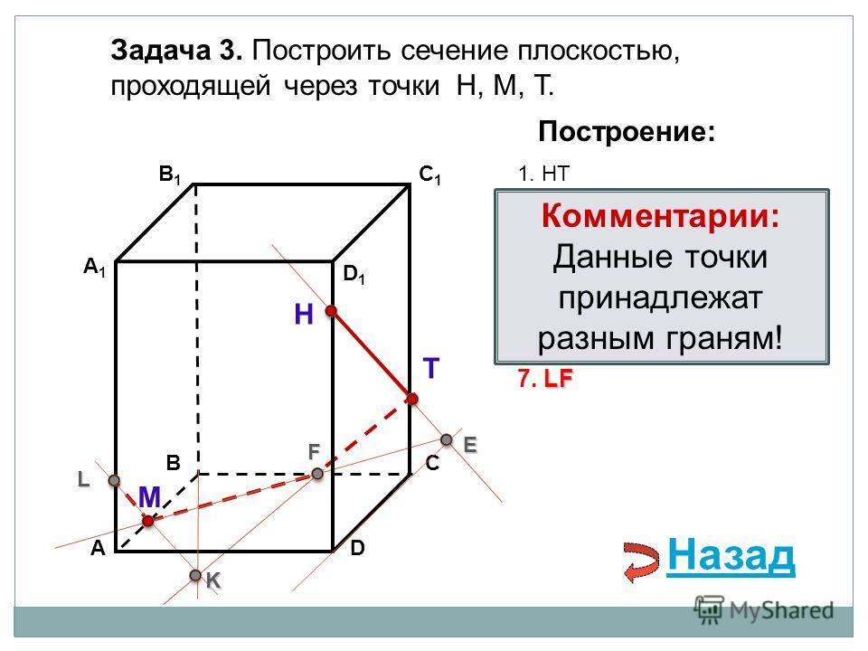 АD В1В1 ВС А1А1 C1C1 D1D1 Задача 3. Построить сечение плоскостью, проходящей через точки Н, М, Т. Н Т М Построение: 1. НТ 2. НТ DС = E E 3. ME ВС = F F F 4. ТF F В 1 В = K 5. ТF В 1 В = K K K АА 1 = L 6. МK АА 1 = L L LF 7. LF Комментарии: Данные точ