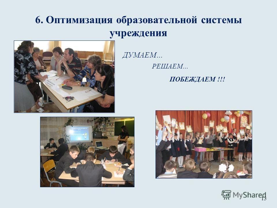 6. Оптимизация образовательной системы учреждения ДУМАЕМ… РЕШАЕМ… ПОБЕЖДАЕМ !!! 13