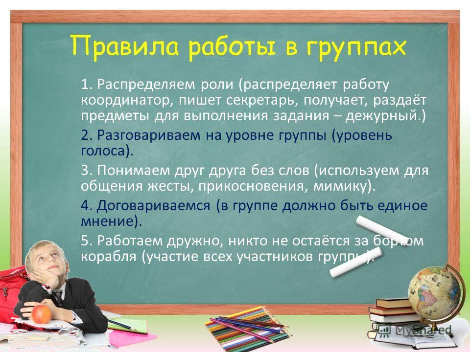 Правила работы в группах 1. Распределяем роли (распределяет работу координатор, пишет секретарь, получает, раздаёт предметы для выполнения задания – дежурный.) 2. Разговариваем на уровне группы (уровень голоса). 3. Понимаем друг друга без слов (испол