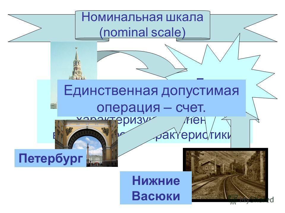 4 Номинальная шкала (nominal scale) Символы (числа) служат только для классификации и не характеризуют степень выраженности характеристики. Города Москва Петербург Нижние Васюки Единственная допустимая операция – счет.
