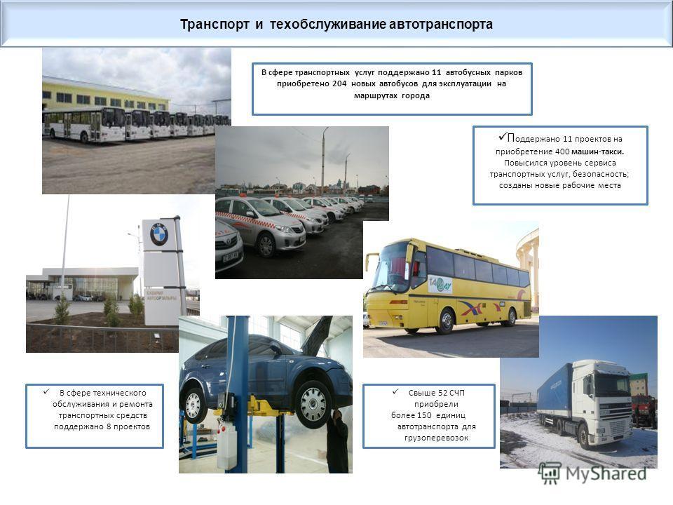 В сфере транспортных услуг поддержано 11 автобусных парков приобретено 204 новых автобусов для эксплуатации на маршрутах города Свыше 52 СЧП приобрели более 150 единиц автотранспорта для грузоперевозок П оддержано 11 проектов на приобретение 400 маши