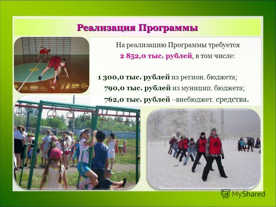 Реализация Программы На реализацию Программы требуется 2 852,0 тыс. рублей 2 852,0 тыс. рублей, в том числе: 1 300,0 тыс. рублей из регион. бюджета; 790,0 тыс. рублей из муницип. бюджета; 762,0 тыс. рублей –внебюджет. средства.