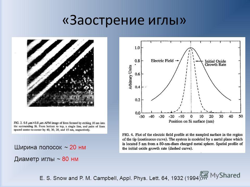 «Заострение иглы» Ширина полосок ~ 20 нм Диаметр иглы ~ 80 нм E. S. Snow and P. M. Campbell, Appl. Phys. Lett. 64, 1932 (1994).
