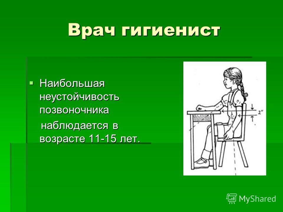 Врач гигиенист Наибольшая неустойчивость позвоночника Наибольшая неустойчивость позвоночника наблюдается в возрасте 11-15 лет. наблюдается в возрасте 11-15 лет.