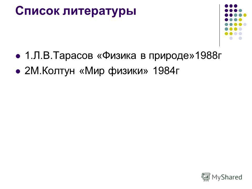 Список литературы 1.Л.В.Тарасов «Физика в природе»1988г 2М.Колтун «Мир физики» 1984г