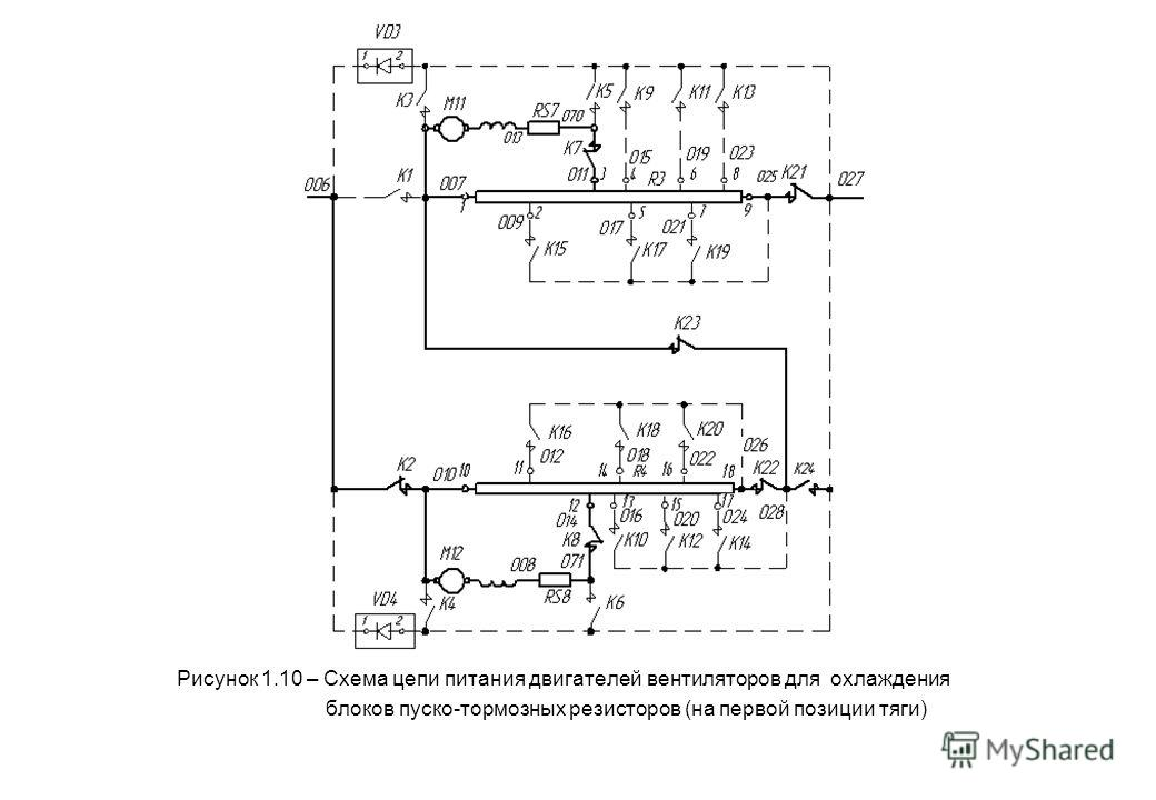 Рисунок 1.10 – Схема цепи питания двигателей вентиляторов для охлаждения блоков пуско-тормозных резисторов (на первой позиции тяги)
