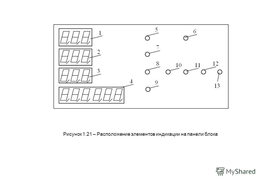 Рисунок 1.21 – Расположение элементов индикации на панели блока
