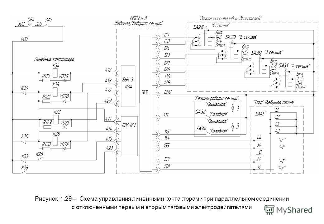 Рисунок 1.29 – Схема управления линейными контакторами при параллельном соединении с отключенными первым и вторым тяговыми электродвигателями