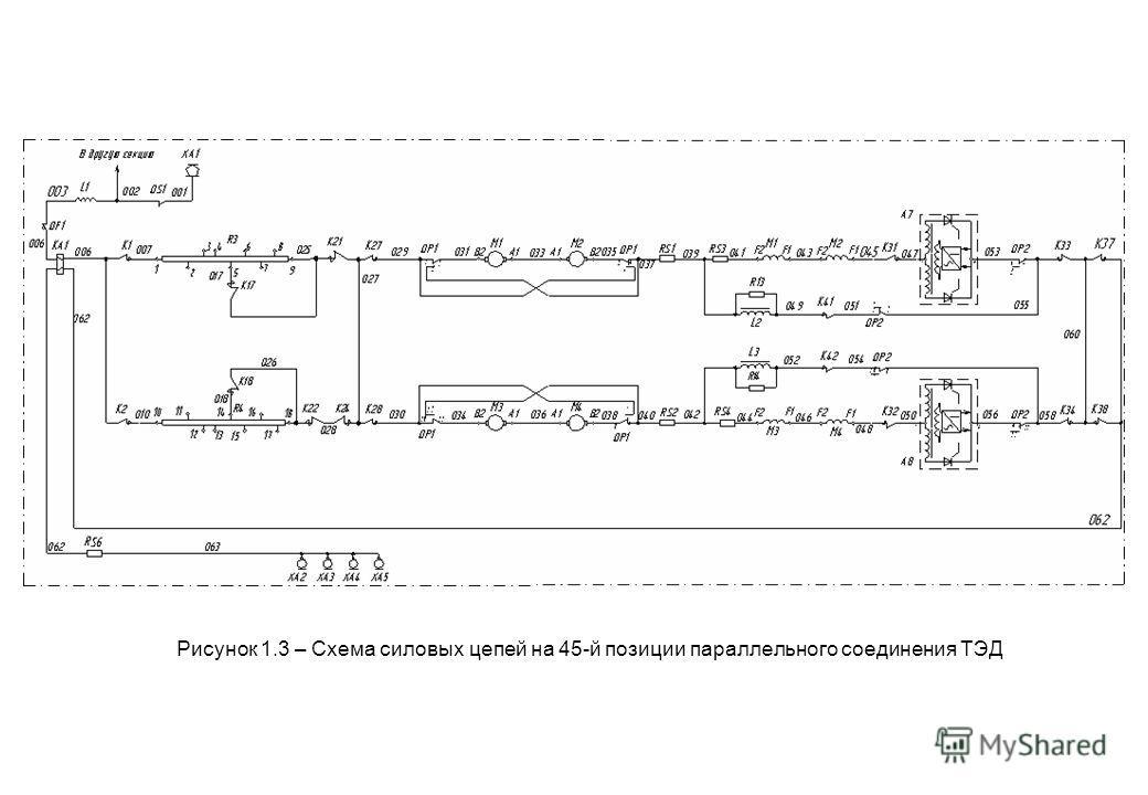 Рисунок 1.3 – Схема силовых цепей на 45-й позиции параллельного соединения ТЭД
