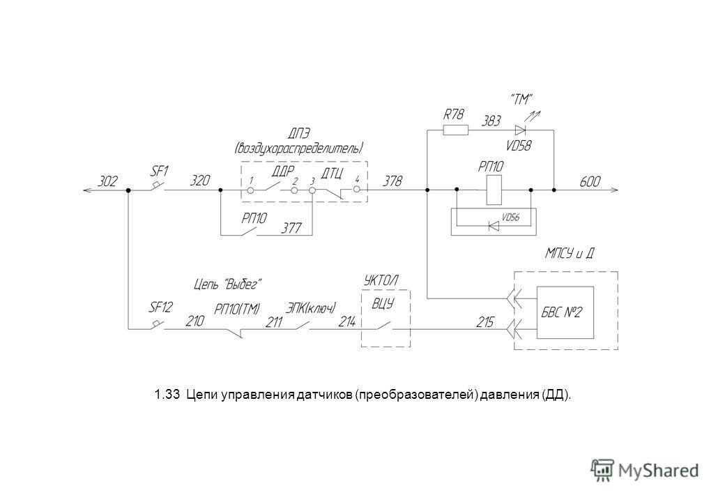 1.33 Цепи управления датчиков (преобразователей) давления (ДД).