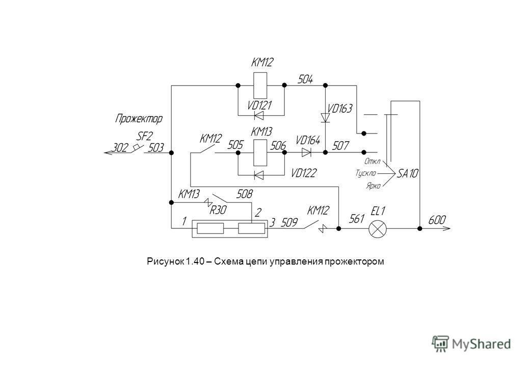 Рисунок 1.40 – Схема цепи управления прожектором