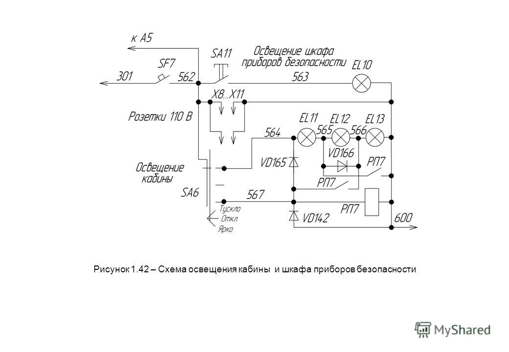 Рисунок 1.42 – Схема освещения кабины и шкафа приборов безопасности