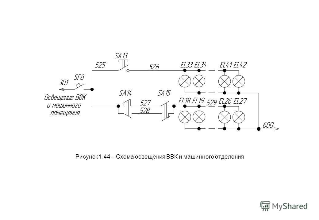 Рисунок 1.44 – Схема освещения ВВК и машинного отделения