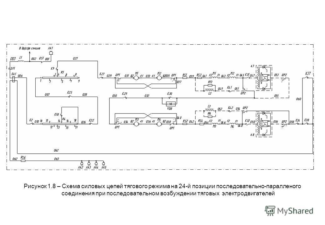 Рисунок 1.8 – Схема силовых цепей тягового режима на 24-й позиции последовательно-паралленого соединения при последовательном возбуждении тяговых электродвигателей