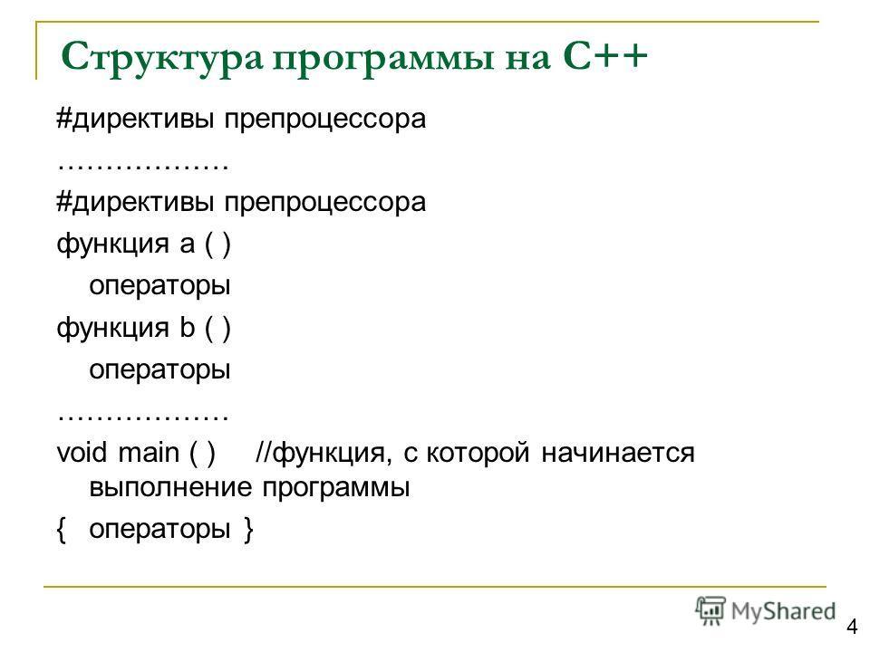 Структура программы на С++ #директивы препроцессора ……………… #директивы препроцессора функция а ( ) операторы функция b ( ) операторы ……………… void main ( ) //функция, с которой начинается выполнение программы {операторы } 4