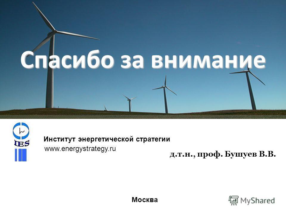 Спасибо за внимание д.т.н., проф. Бушуев В.В. Институт энергетической стратегии www.energystrategy.ru Москва