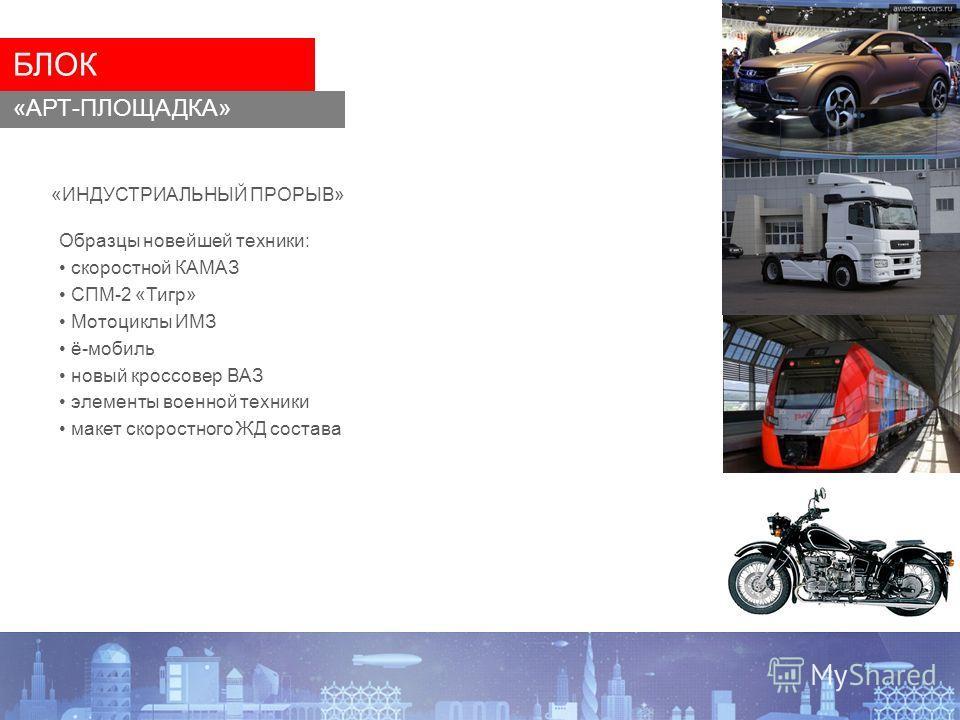 «ИНДУСТРИАЛЬНЫЙ ПРОРЫВ» БЛОК «АРТ-ПЛОЩАДКА» Образцы новейшей техники: скоростной КАМАЗ СПМ-2 «Тигр» Мотоциклы ИМЗ ё-мобиль новый кроссовер ВАЗ элементы военной техники макет скоростного ЖД состава