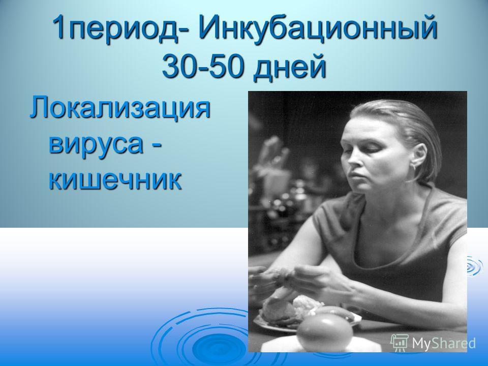 1период- Инкубационный 30-50 дней Локализация вируса - кишечник