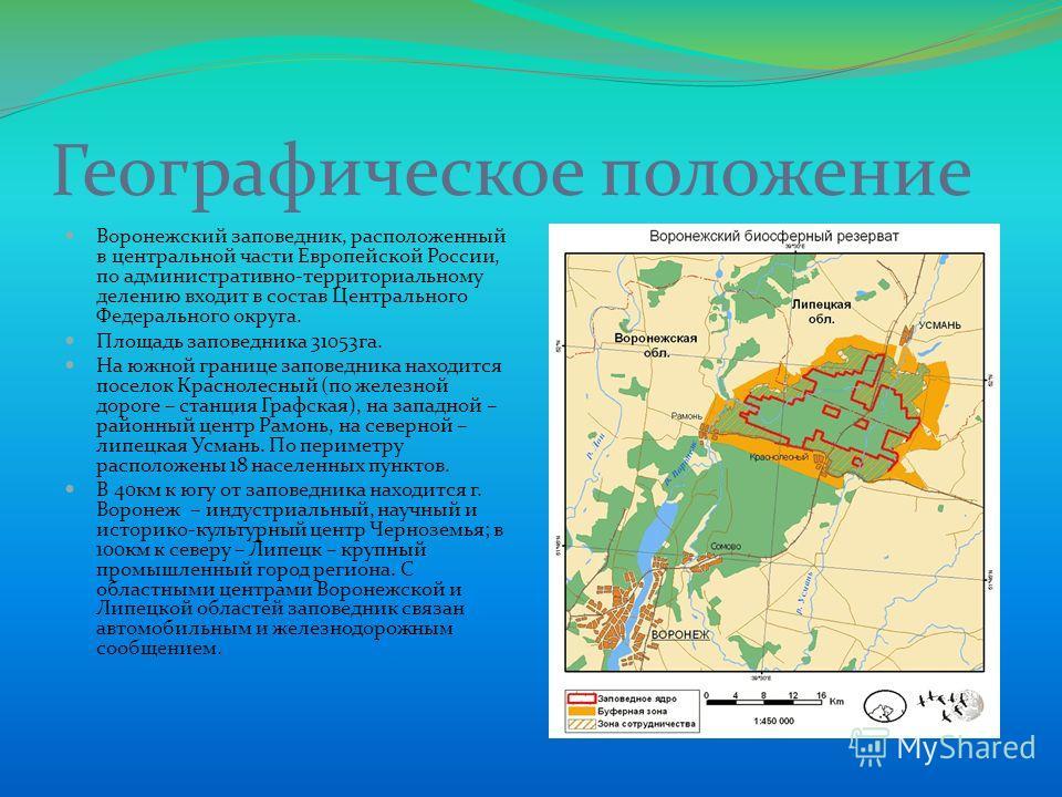 Географическое положение Воронежский заповедник, расположенный в центральной части Европейской России, по административно-территориальному делению входит в состав Центрального Федерального округа. Площадь заповедника 31053га. На южной границе заповед