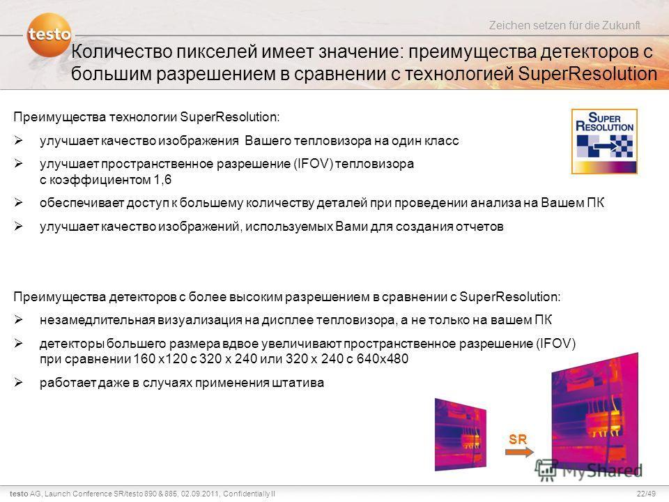 22/49testo AG, Zeichen setzen für die Zukunft Launch Conference SR/testo 890 & 885, 02.09.2011, Confidentially II Количество пикселей имеет значение: преимущества детекторов с большим разрешением в сравнении с технологией SuperResolution Преимущества