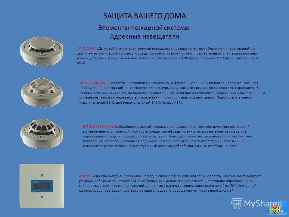 Элементы пожарной системы Адресные извещатели ИП 212-60А. Дымовой оптико-электронный извещатель предназначен для обнаружения возгораний по увеличению оптической плотности среды, со стабилизацией уровня чувствительности и с возможностью точной установ