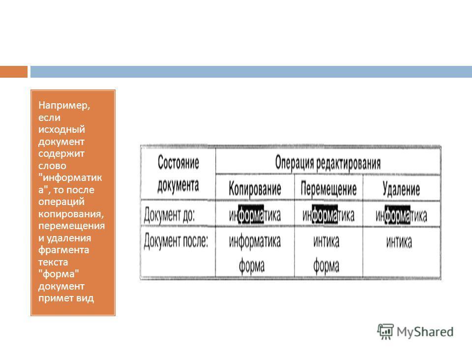 Например, если исходный документ содержит слово  информатик а , то после операций копирования, перемещения и удаления фрагмента текста  форма  документ примет вид