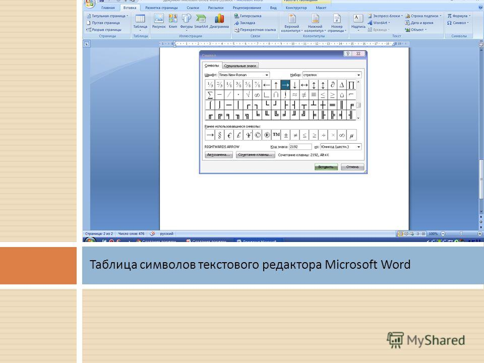 Таблица символов текстового редактора Microsoft Word