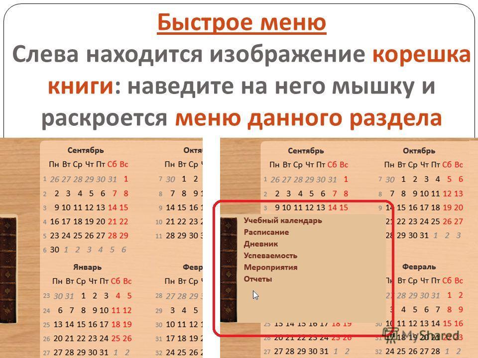 Быстрое меню Слева находится изображение корешка книги : наведите на него мышку и раскроется меню данного раздела