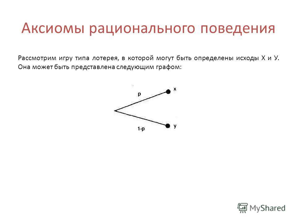 Аксиомы рационального поведения Рассмотрим игру типа лотерея, в которой могут быть определены исходы Х и У. Она может быть представлена следующим графом: